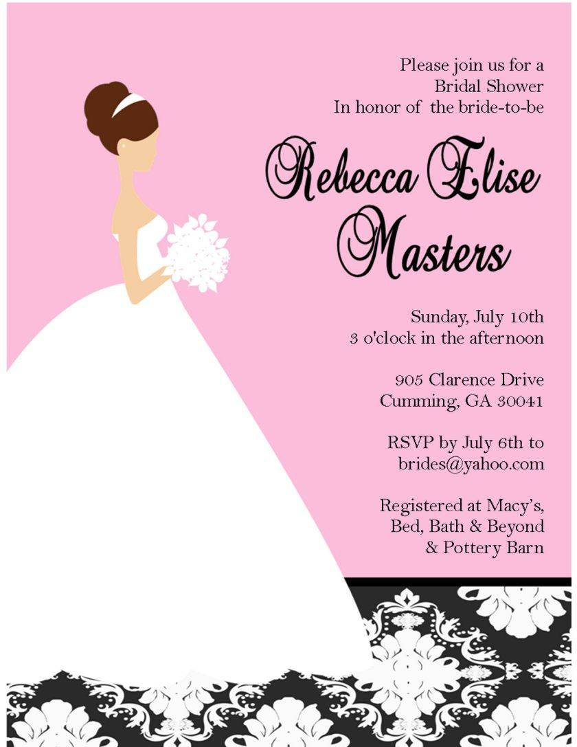 Templates For Bridal Shower Invitations