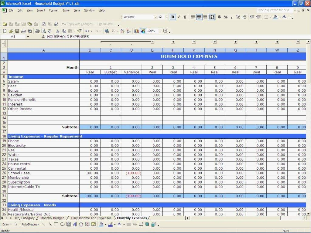 Templates For Home Budget Spreadsheet