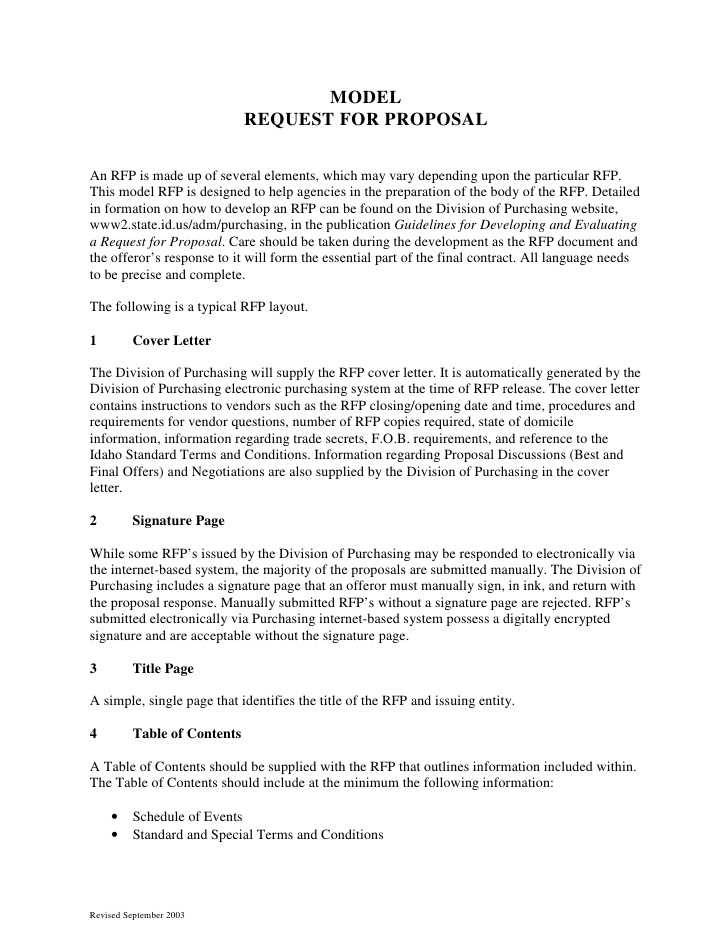 Templates For Request For Proposal (rfp)