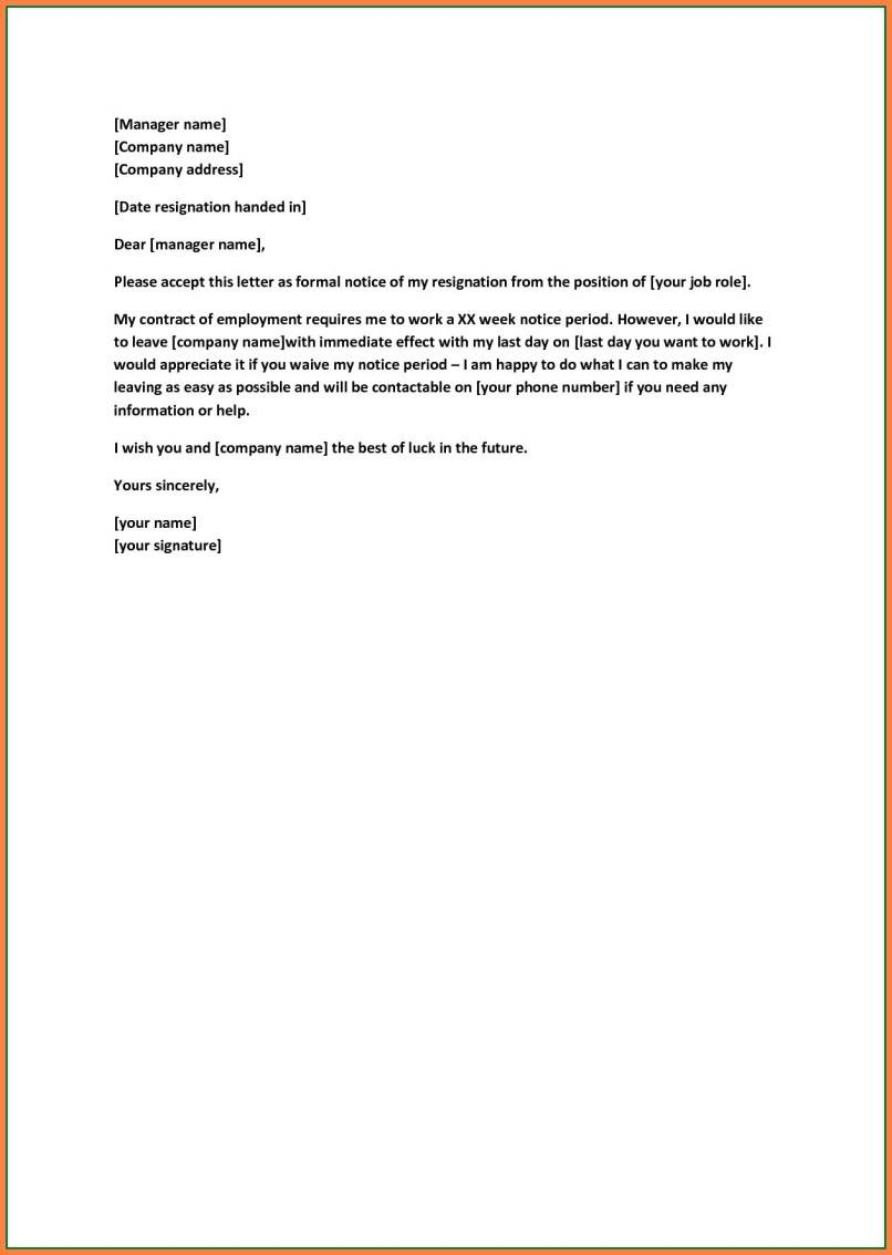 Templates For Resignation Letters Short Notice