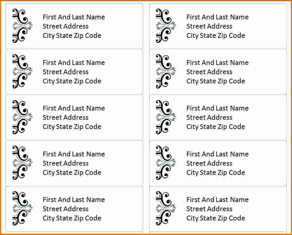 Templates For Return Address Labels