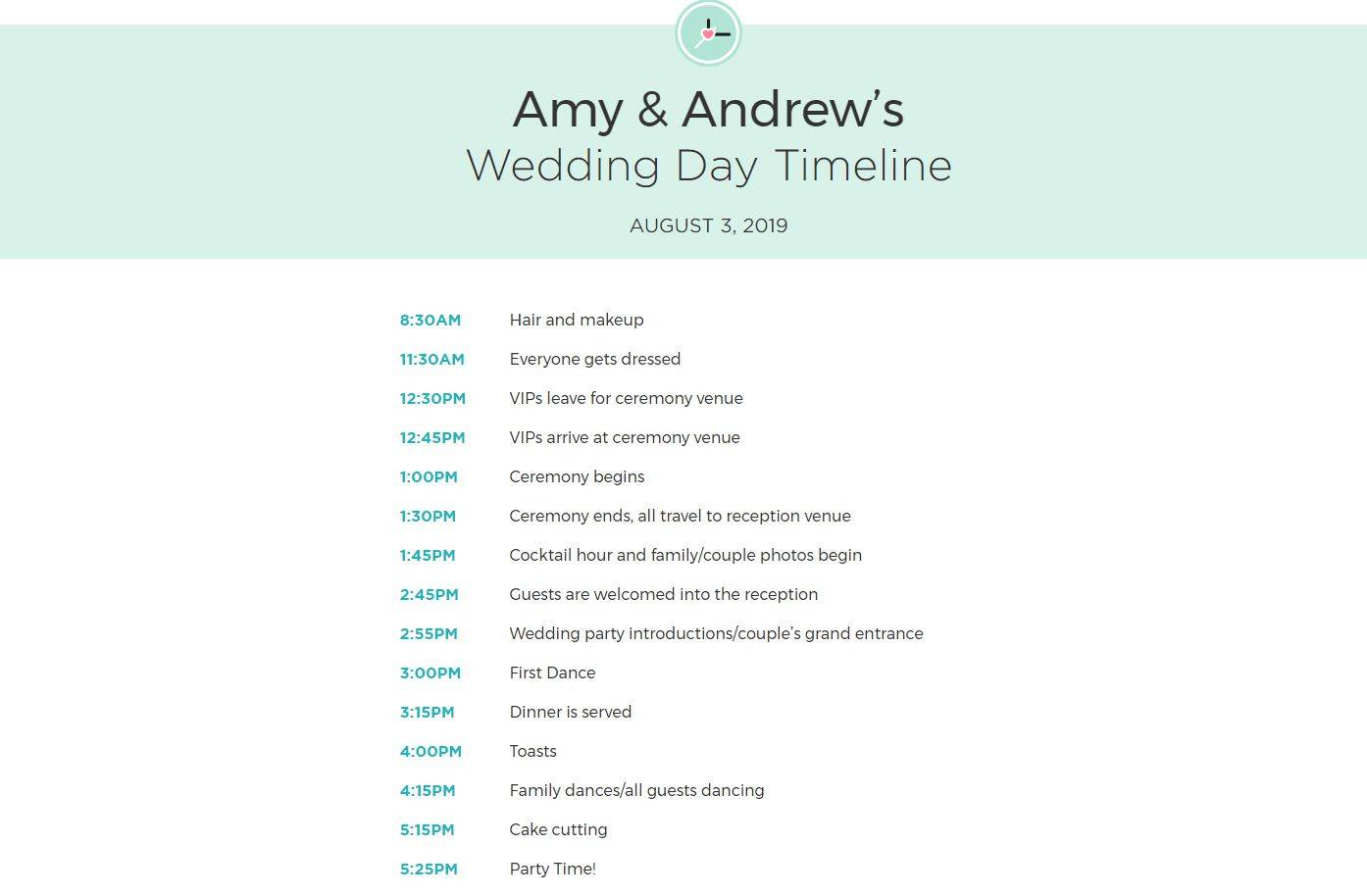 Templates For Wedding Timelines