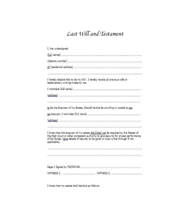 Templates For Wills Uk