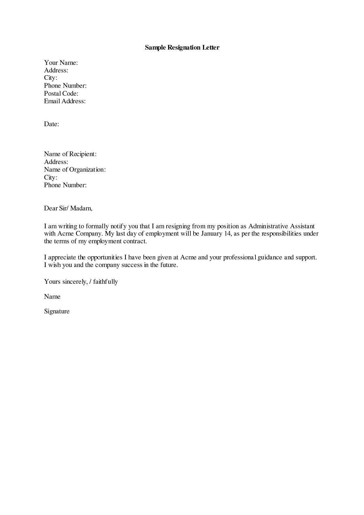 Templates Resignation Letter