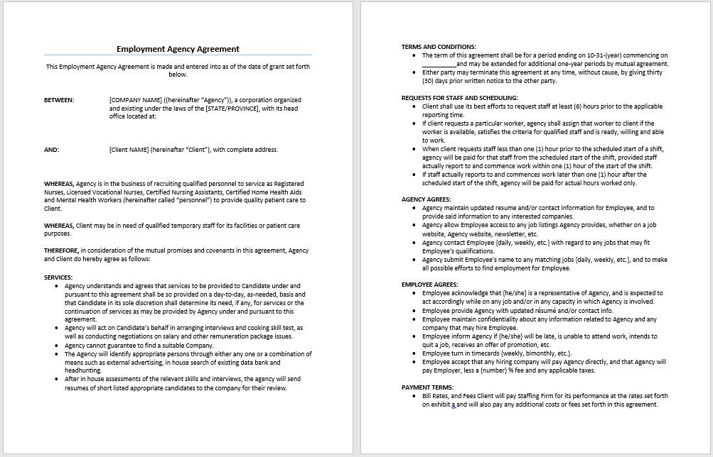 Temporary Agency Contract Template