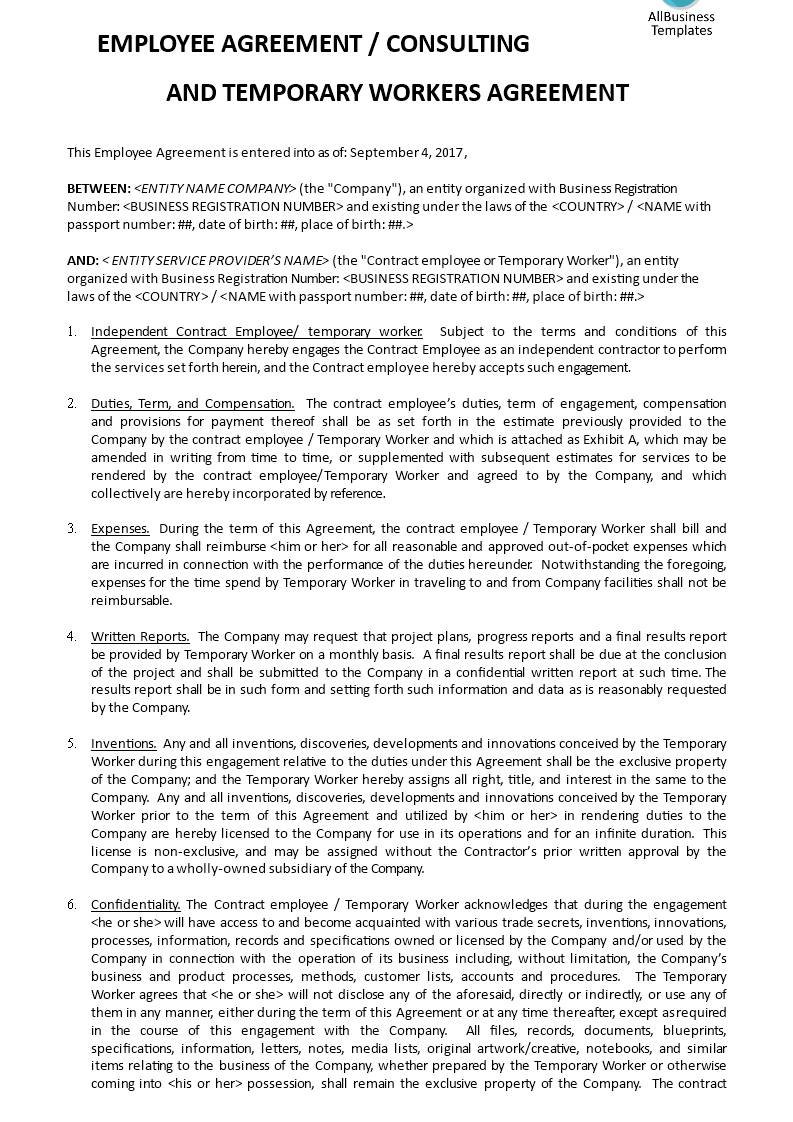 Temporary Employee Agreement Template