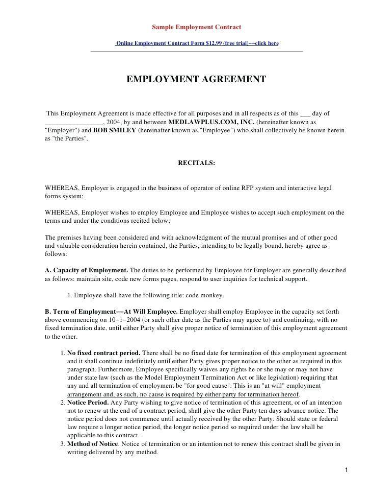 Temporary Employment Contract Template Canada