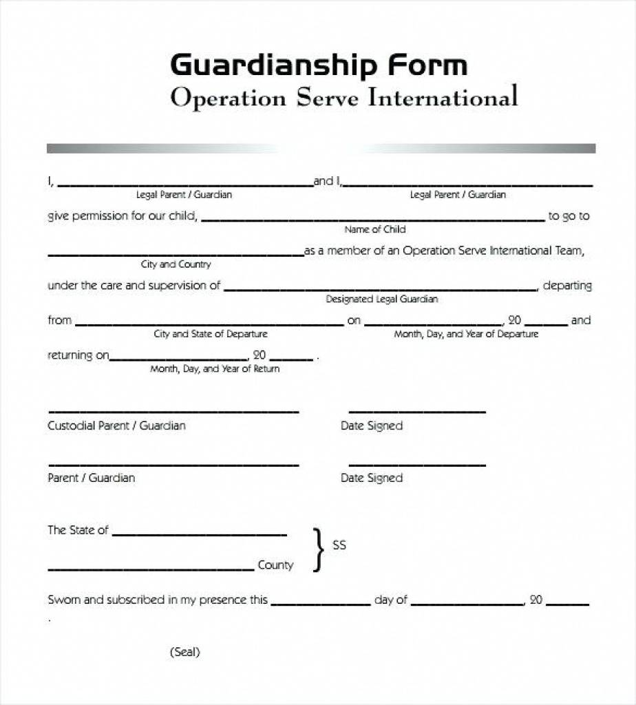 Temporary Guardianship Forms California Free