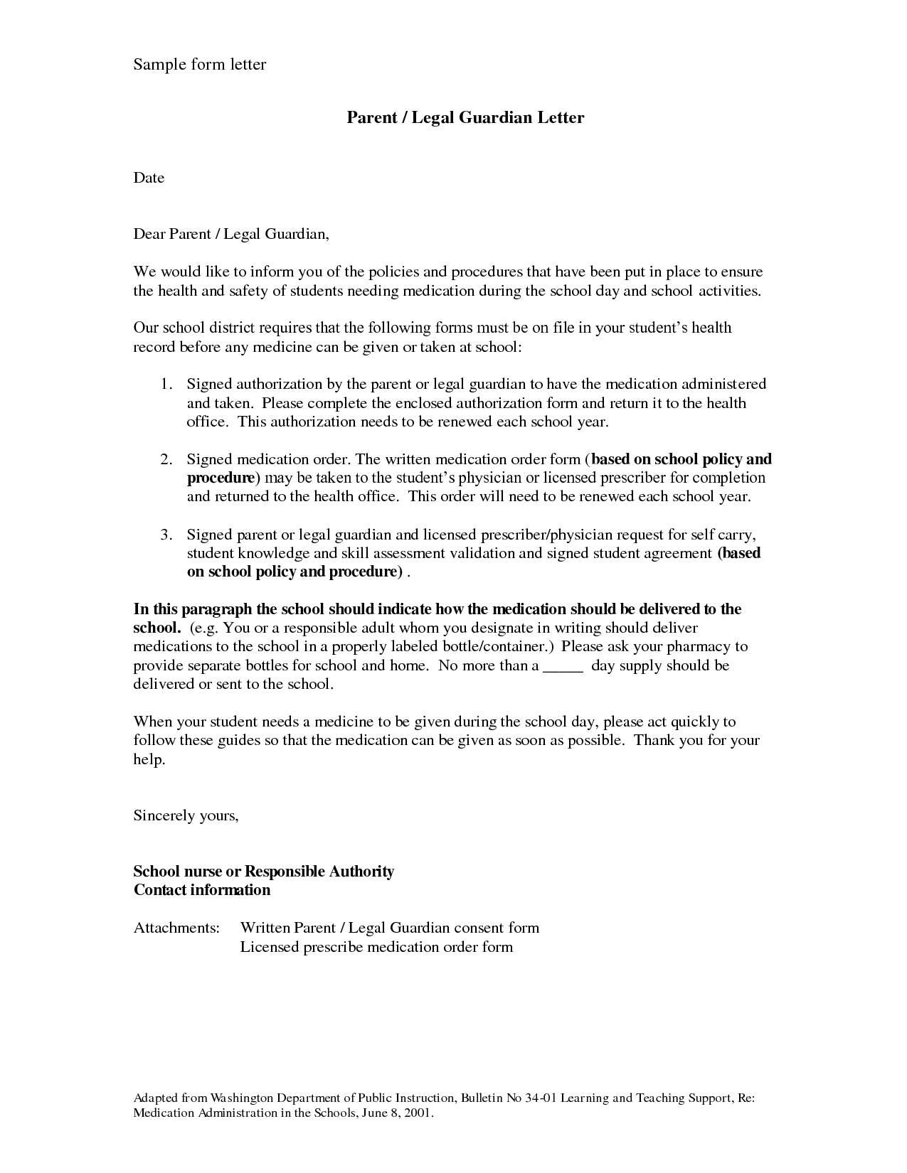 Temporary Guardianship Sample Letter