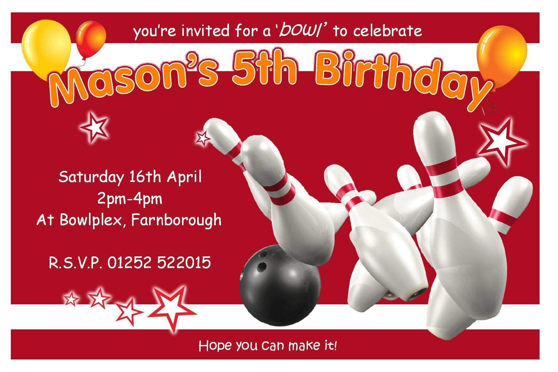Ten Pin Bowling Invitation Templates