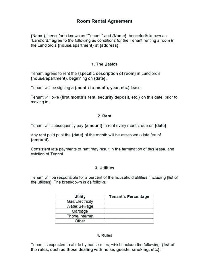 Tenancy Agreement Template For Room Rental