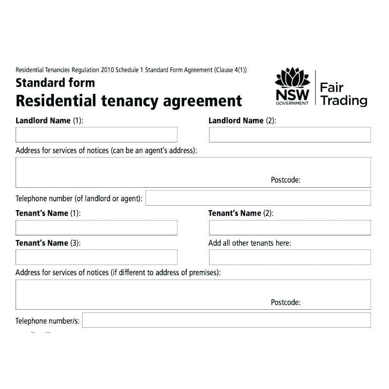 Tenancy Agreement Template Nsw
