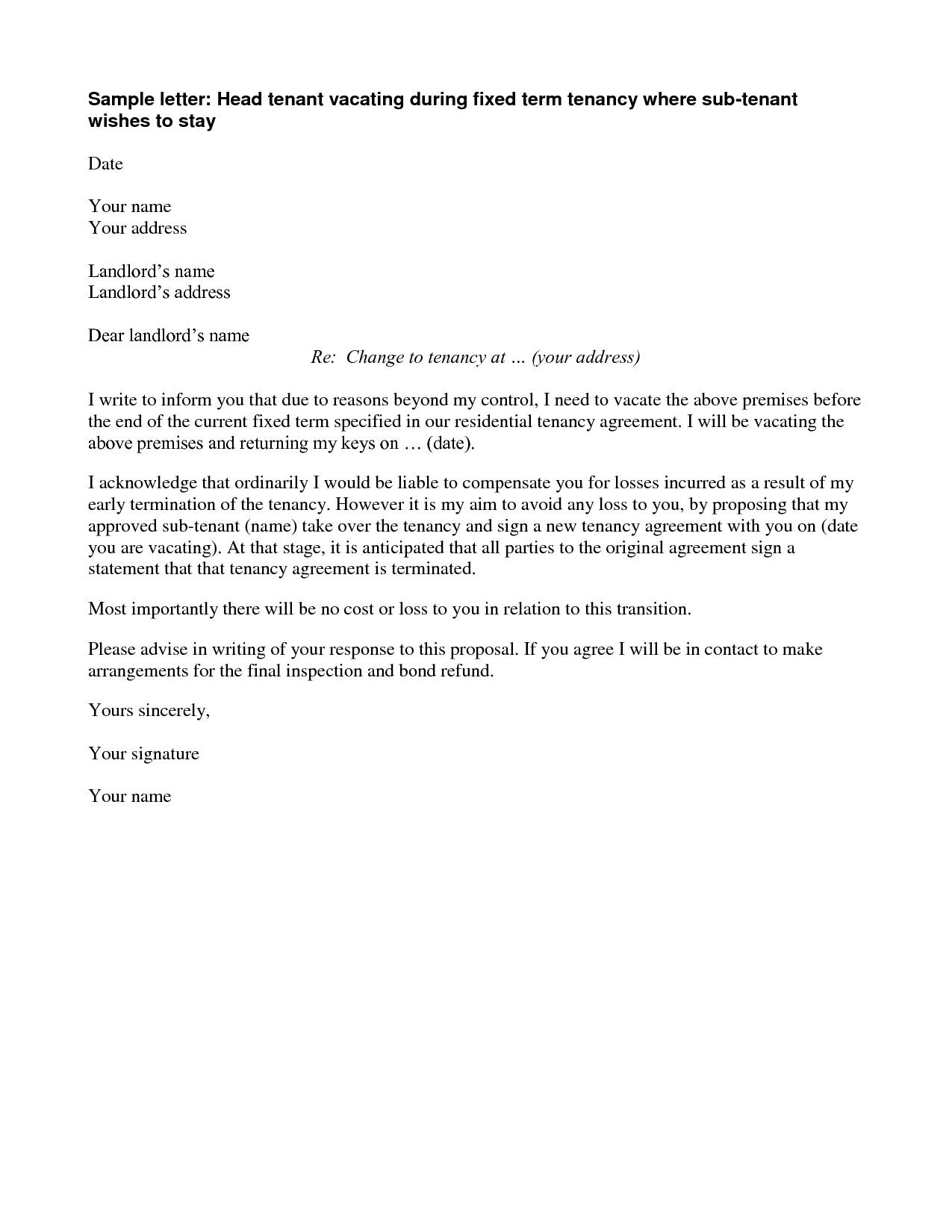 Tenancy Agreement Termination Letter Template