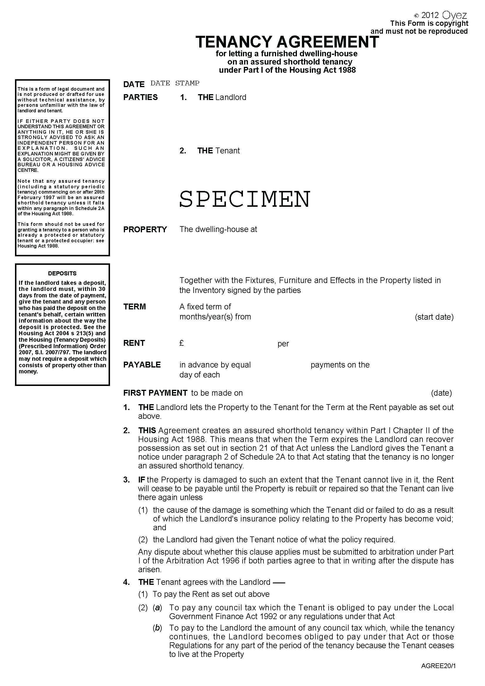 Tenancy Agreement Word Template