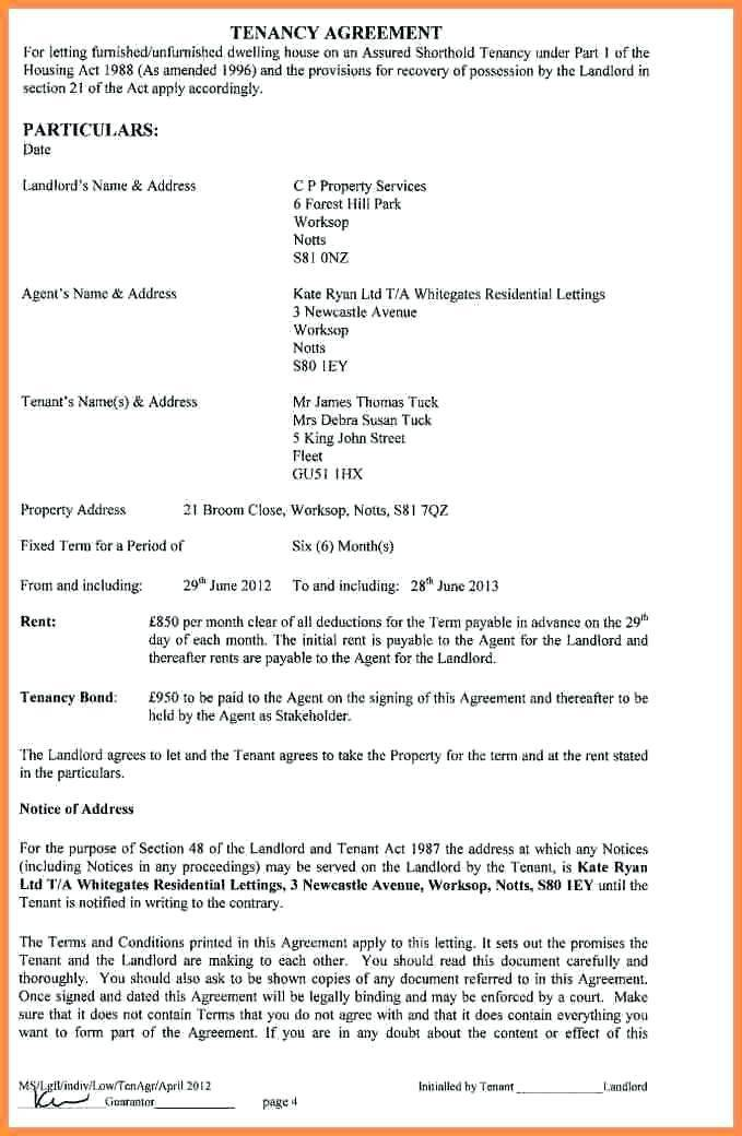 Tenancy Contract Template Scotland