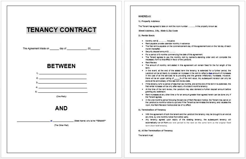 Tenancy Contract Template