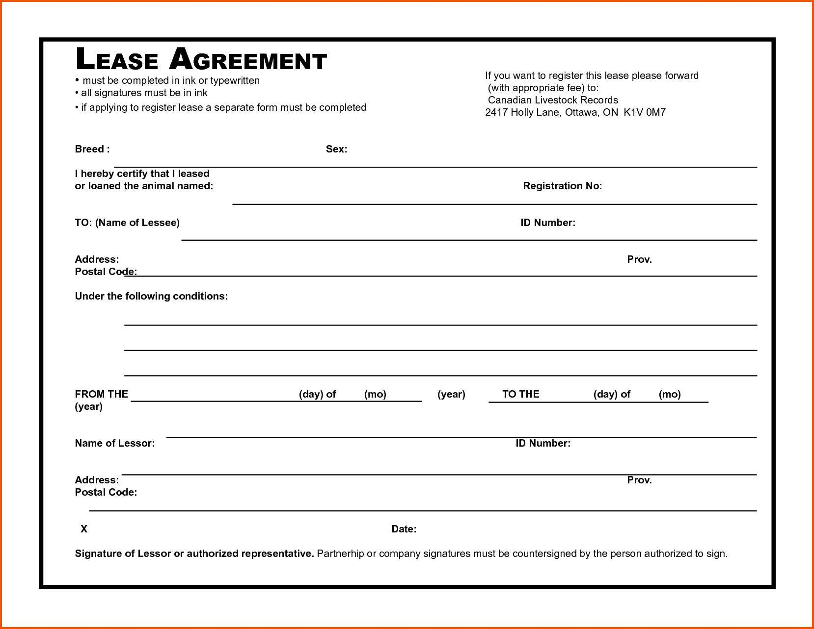 Tenancy Lease Agreement Form