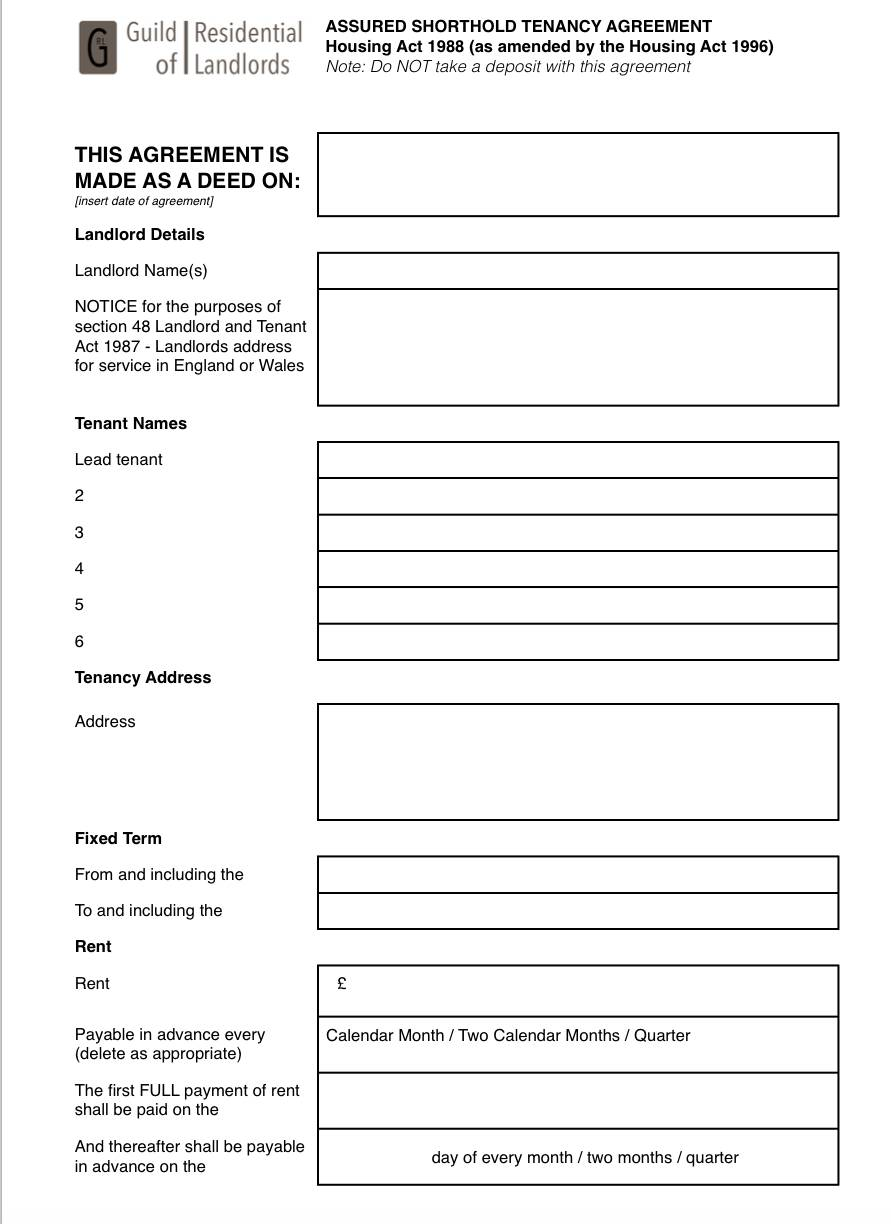 Tenant Application Form Template Uk