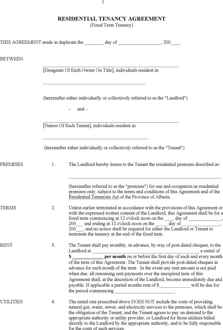 Tenant Lease Agreement Form Ontario