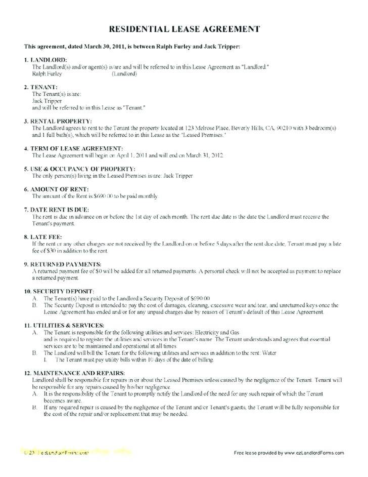 Tenant Lease Contract Template
