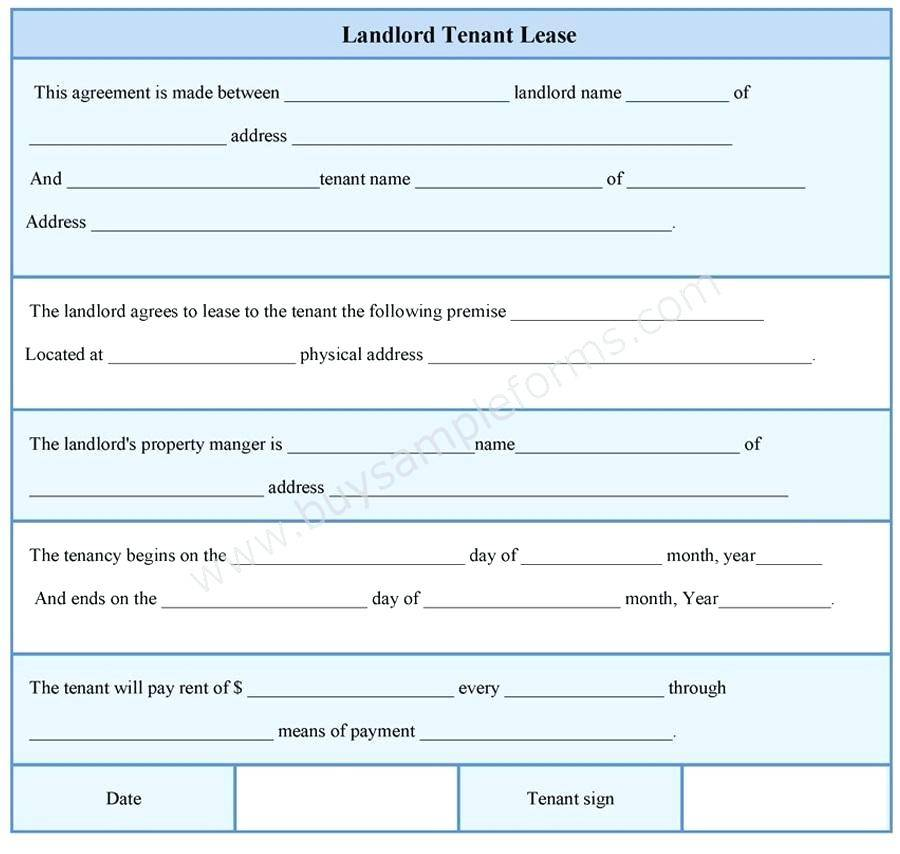Tenant Lease Template
