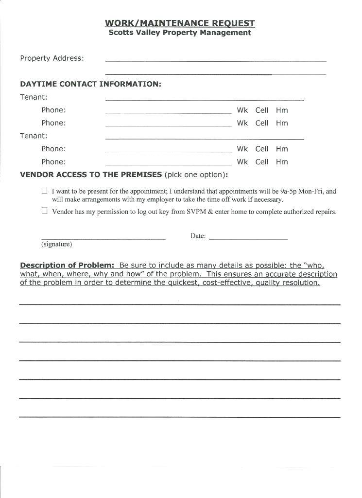 Tenant Maintenance Request Form Template