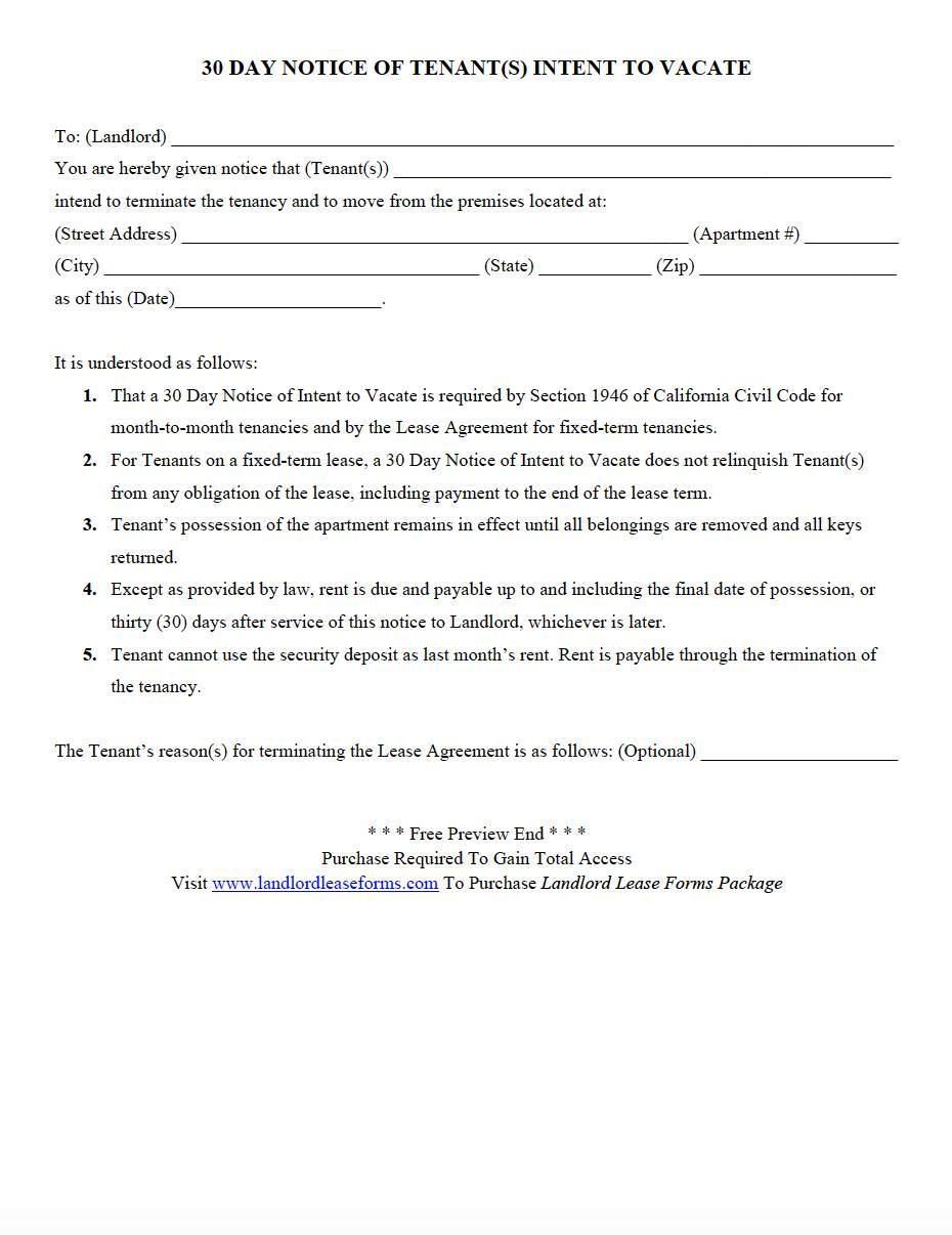 Tenant Notice To Vacate Template