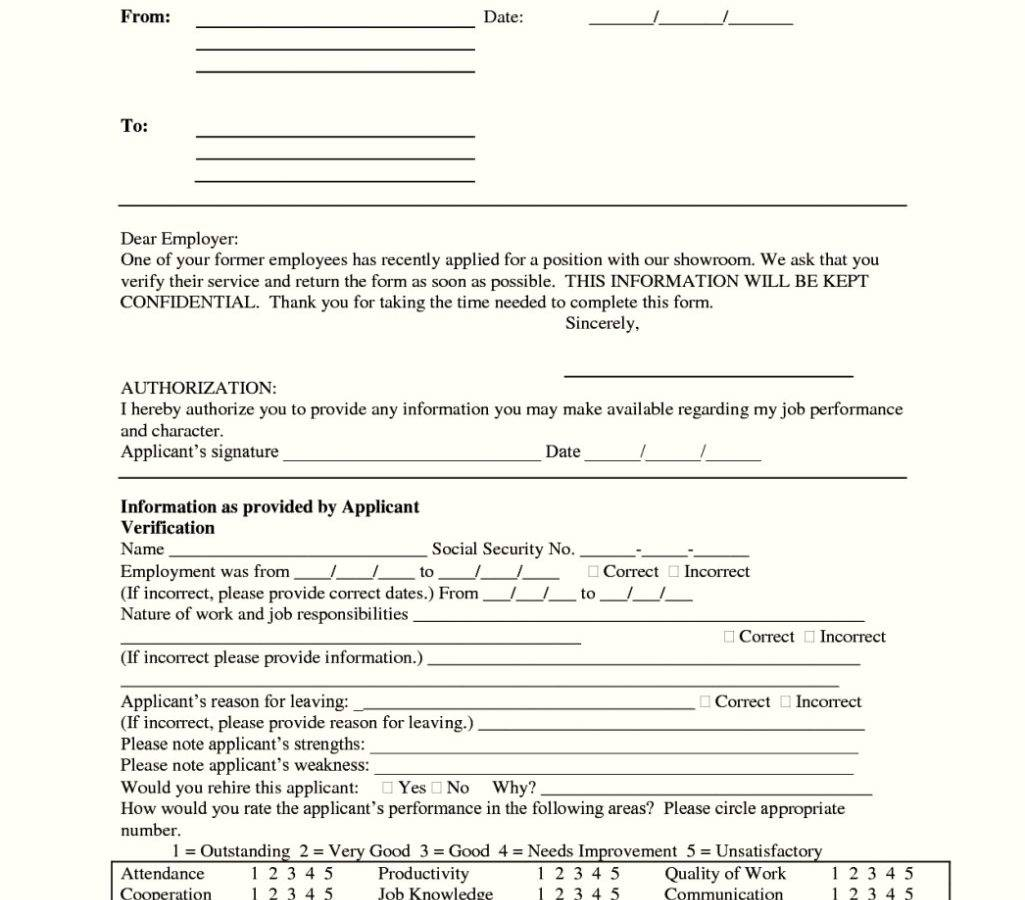 Tenant Reference Form Template