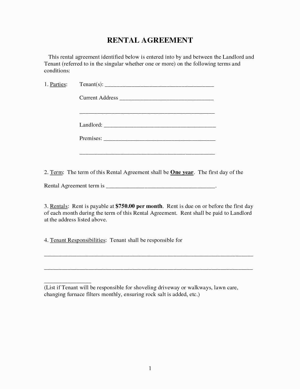 Tenant Rental Contract Template