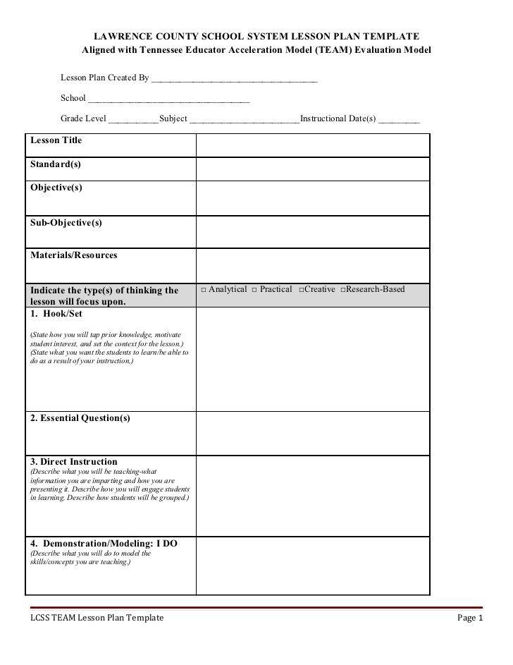 Tennessee Lesson Plan Format