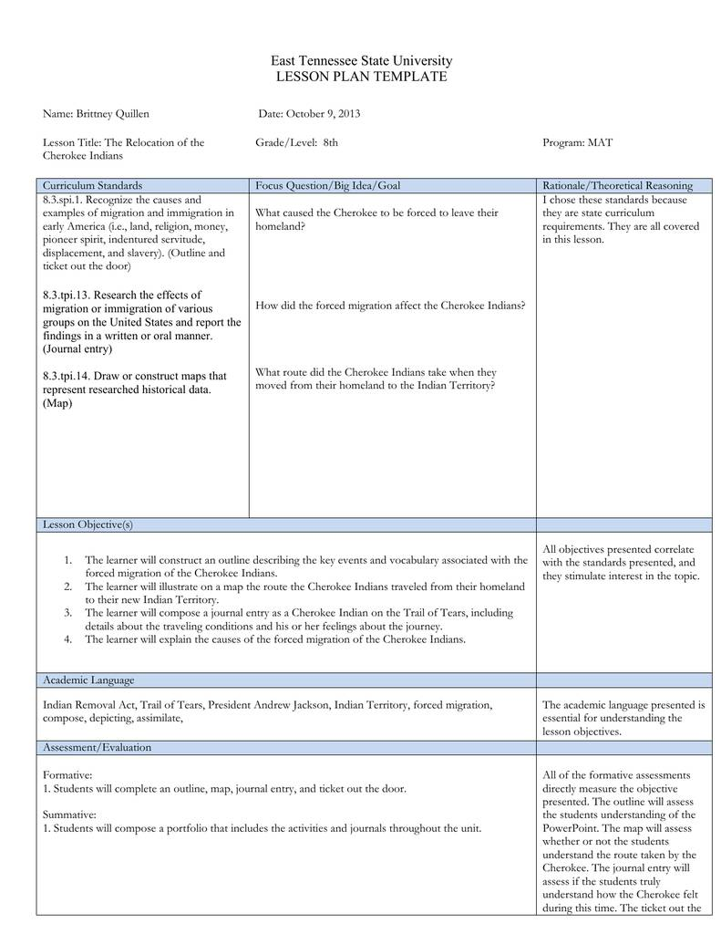 Tennessee Lesson Plan Template