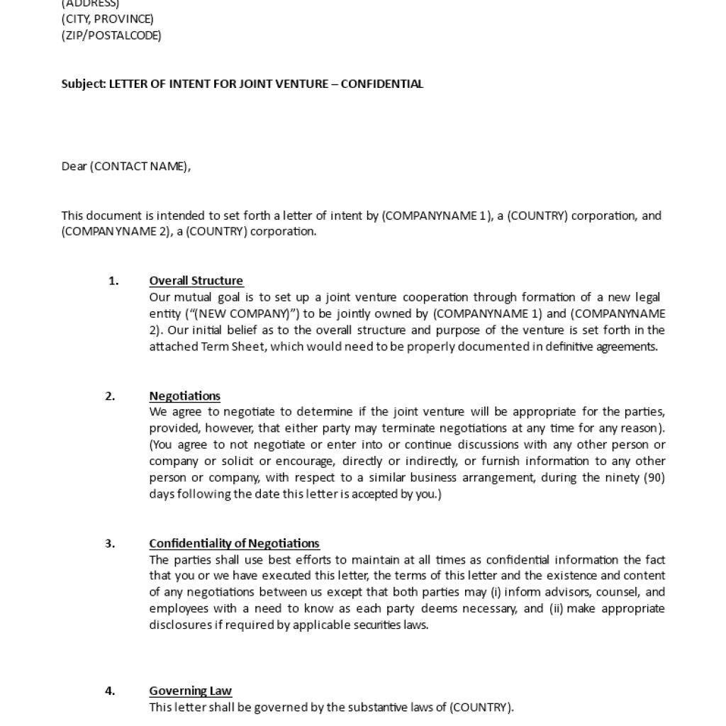 Term Sheet Sample Joint Venture