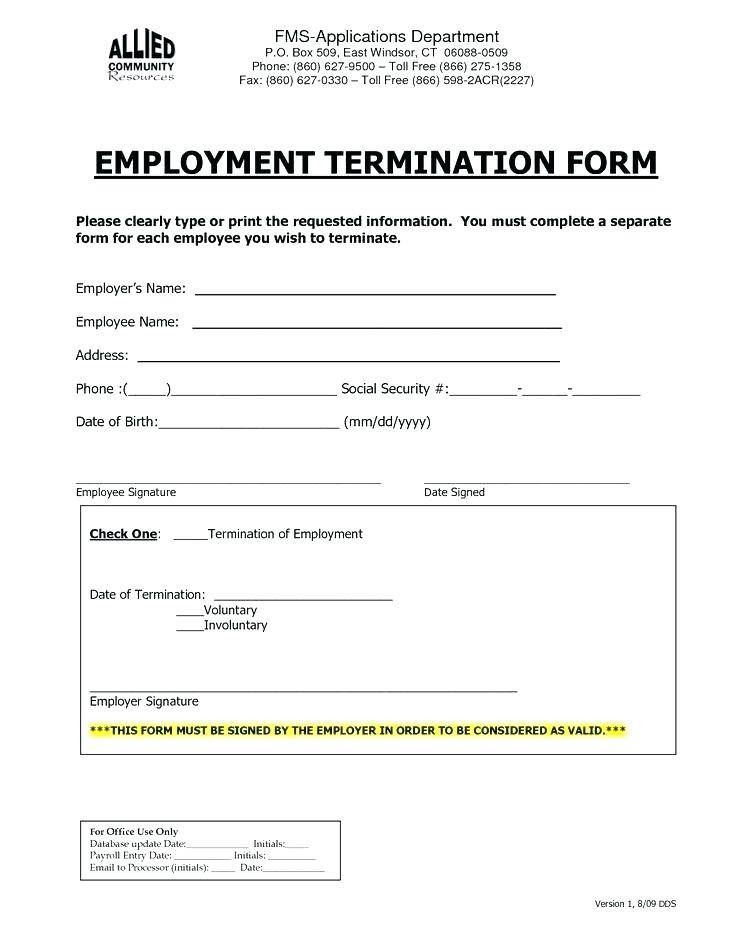 Termination Of Employment Form Template