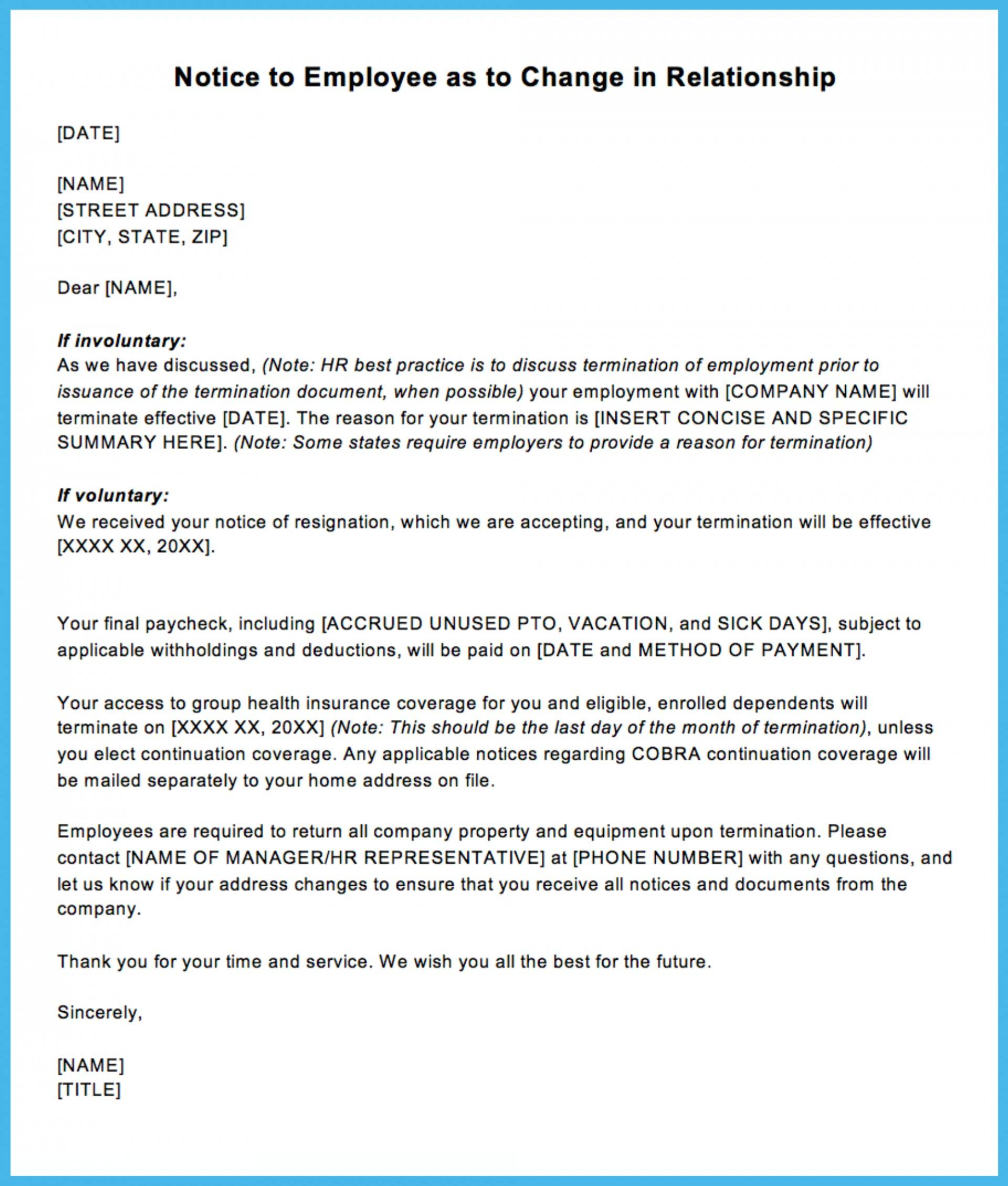 Termination Of Employment Letter Template