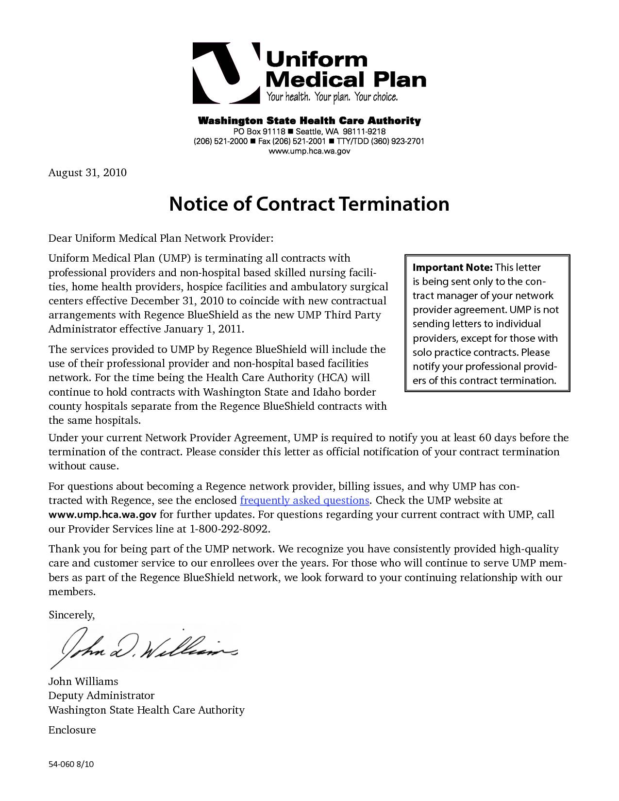 Termination Service Contract Template