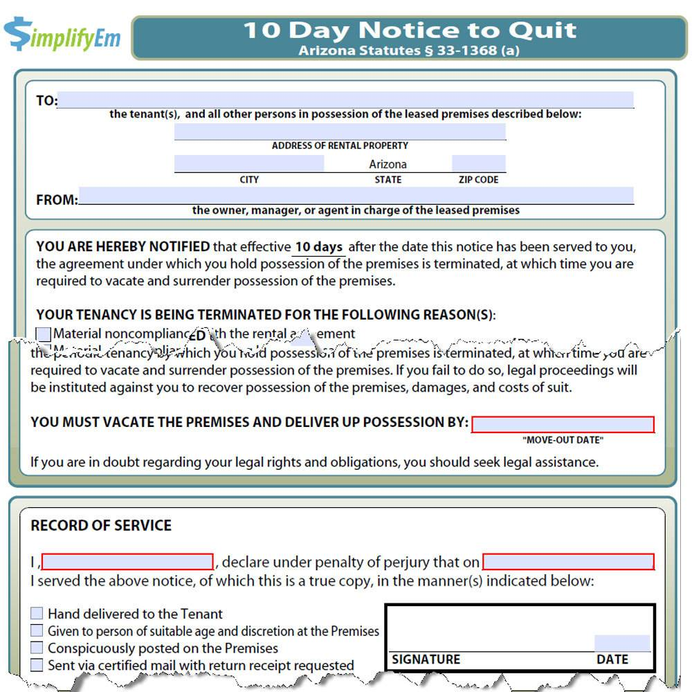 Texas 30 Day Eviction Notice Template