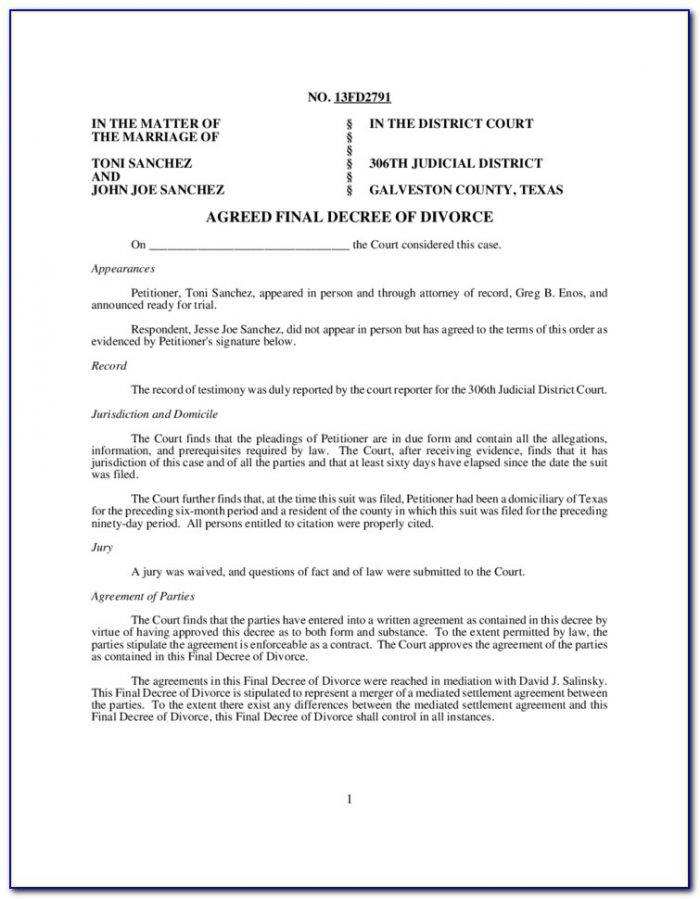 Texas Divorce Decree Template
