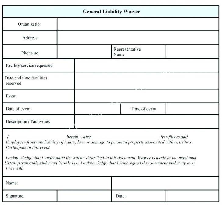 Texas General Liability Waiver Form