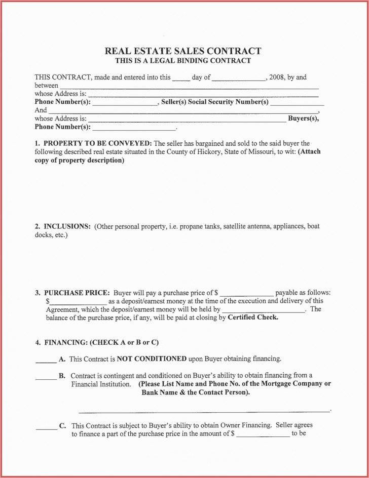 Texas Owner Finance Contract Form