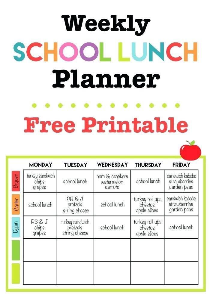 Texas School Lunch Menu Template