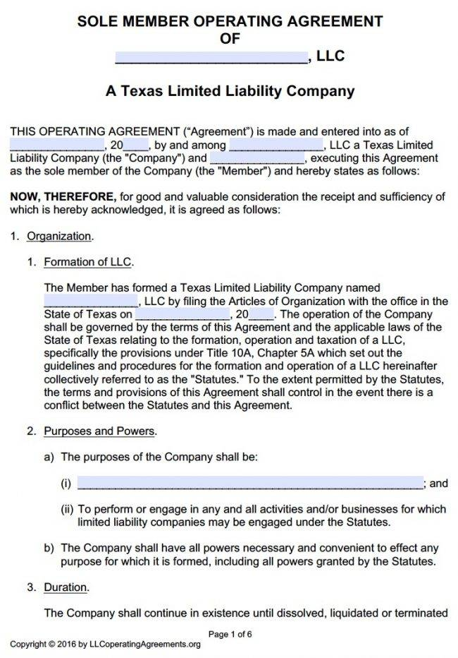 Texas Single Member Llc Operating Agreement Template
