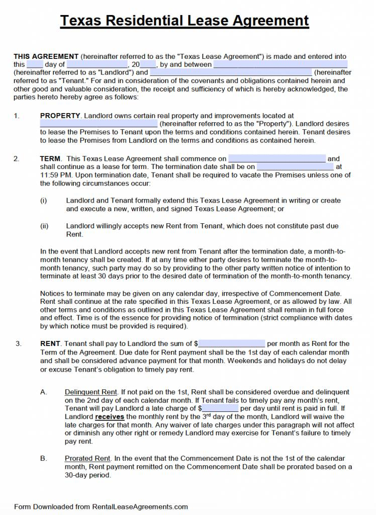 Texas Standard Residential Lease Agreement Template