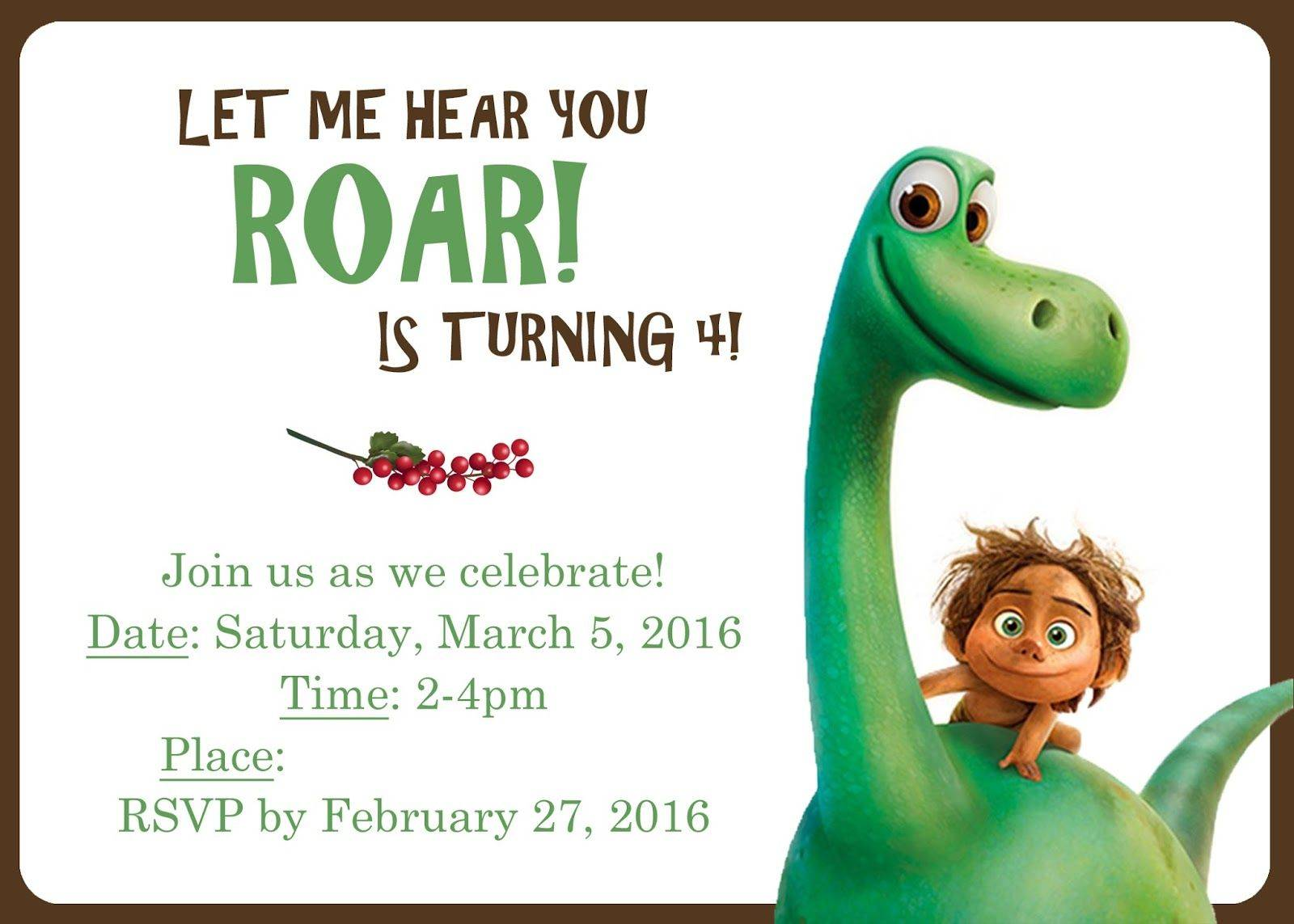The Good Dinosaur Invitation Template