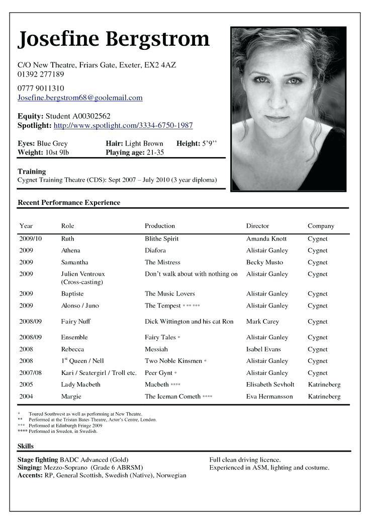 Theater Resume Templates