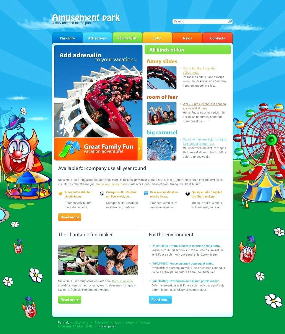Theme Park Website Templates Free Download