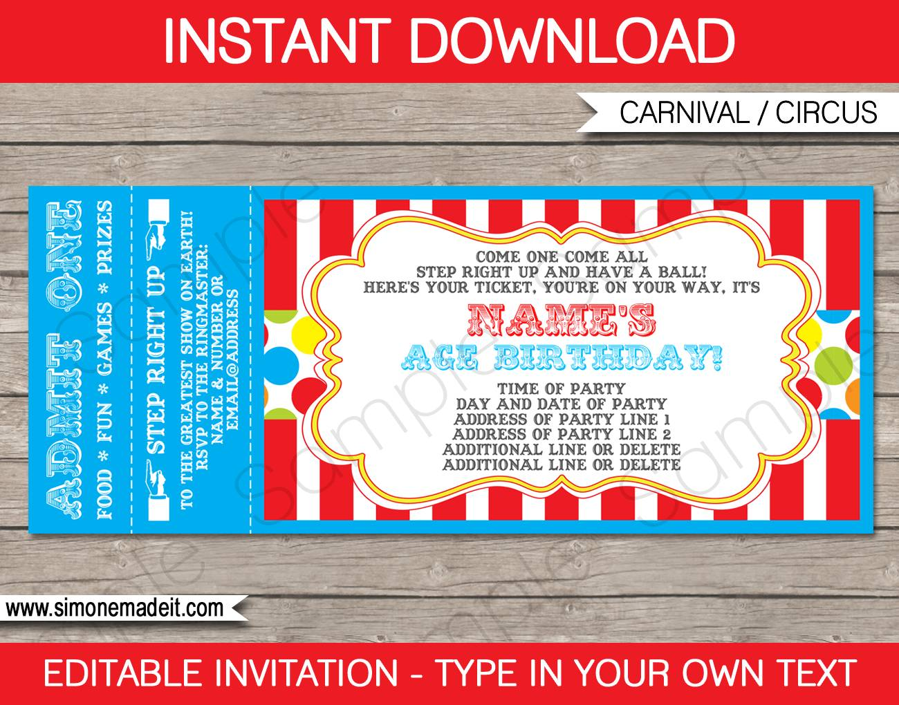 Ticket Birthday Invitation Template