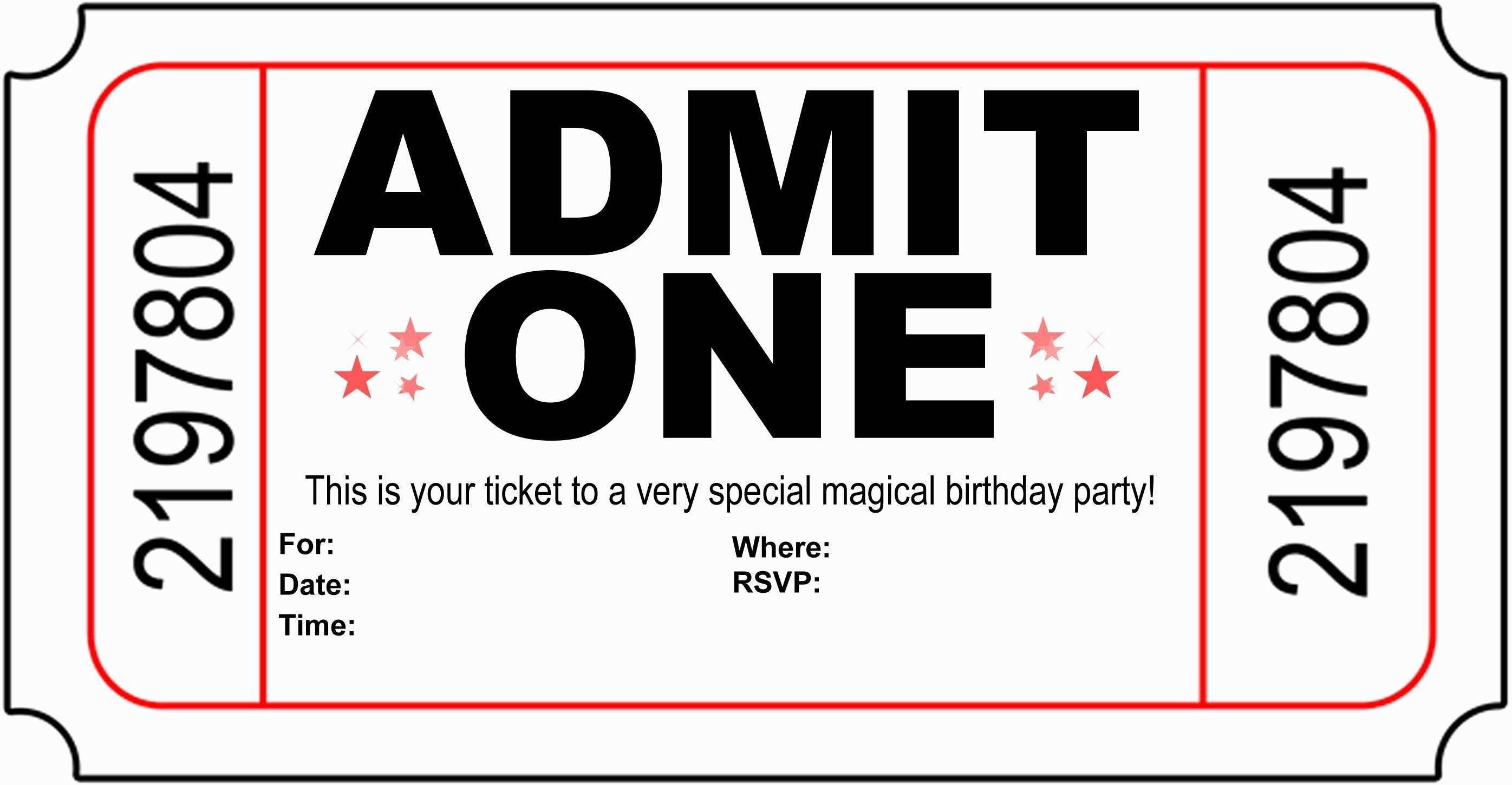 Ticket Invitation Template Free Printable