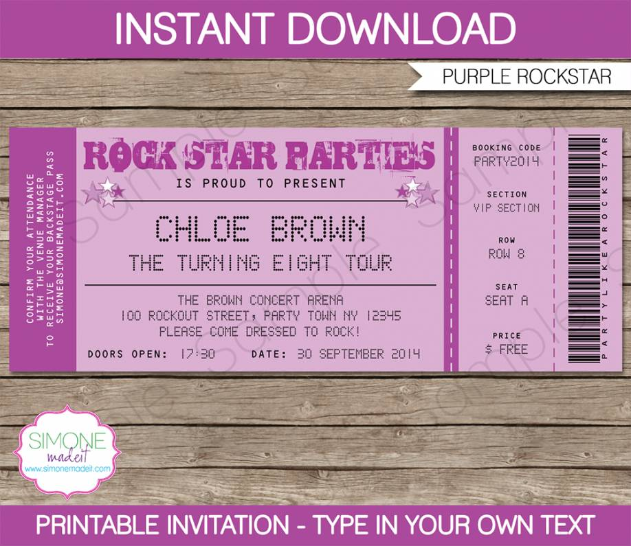 Ticket Party Invite Template