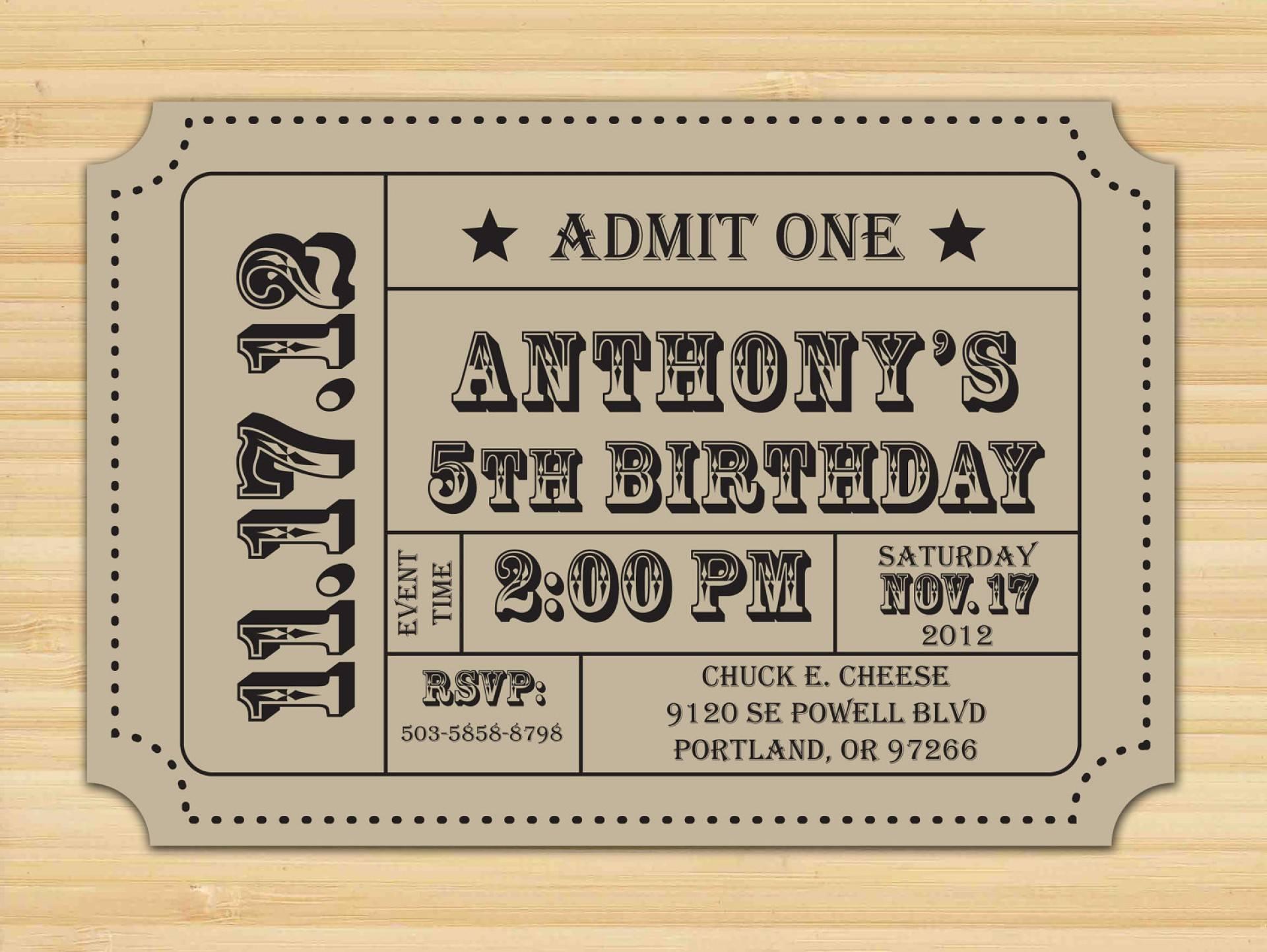 Ticket Stub Invitations Template