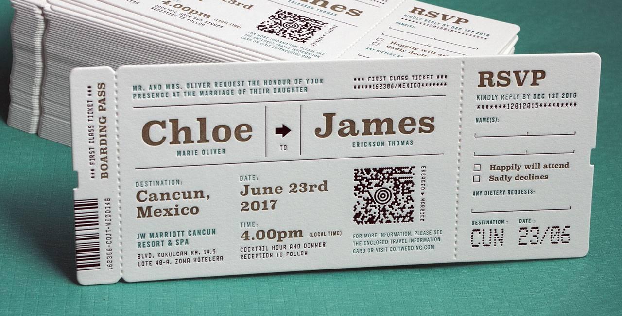 Ticket Wedding Invitations Template
